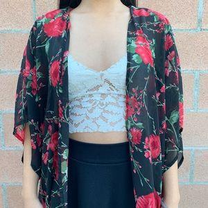See through Kimono Black with Red Floral Print